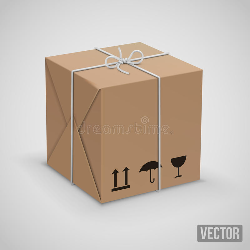 Wraped box vector. Wraped box in yllow paper parcel box. Vector illustration vector illustration