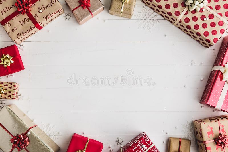 Wrapped Christmas gifts stock photos