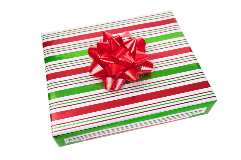 Green Christmas Bow Background Graphics: Wrapped Christmas Present Stock Photo. Image Of Stripes
