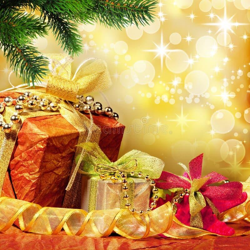 Wrapped Christmas presents stock photos