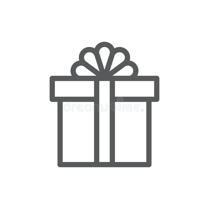 Wrapped closed gift box decorated with ribbon and bow pixel perfect icon with editable stroke. royalty free illustration
