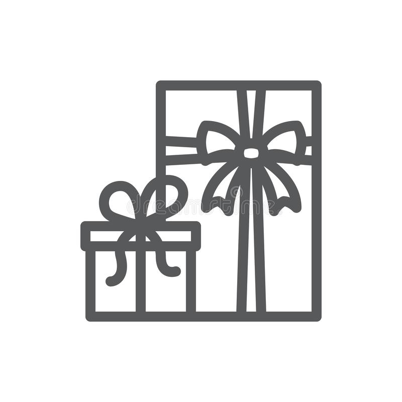 Wrapped closed gift box decorated with ribbon and bow pixel perfect line icon with editable stroke. vector illustration