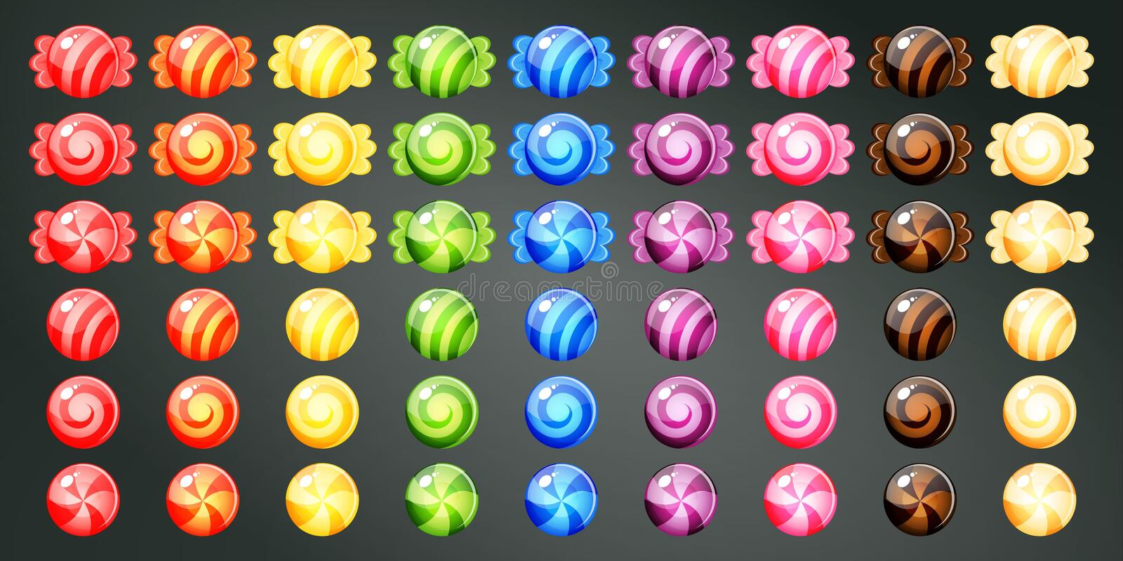 Wrapped colourful candies. For game stock illustration
