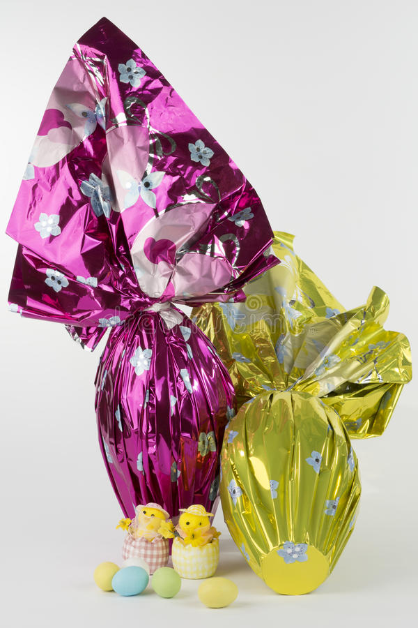 Wrapped easter eggs royalty free stock photo