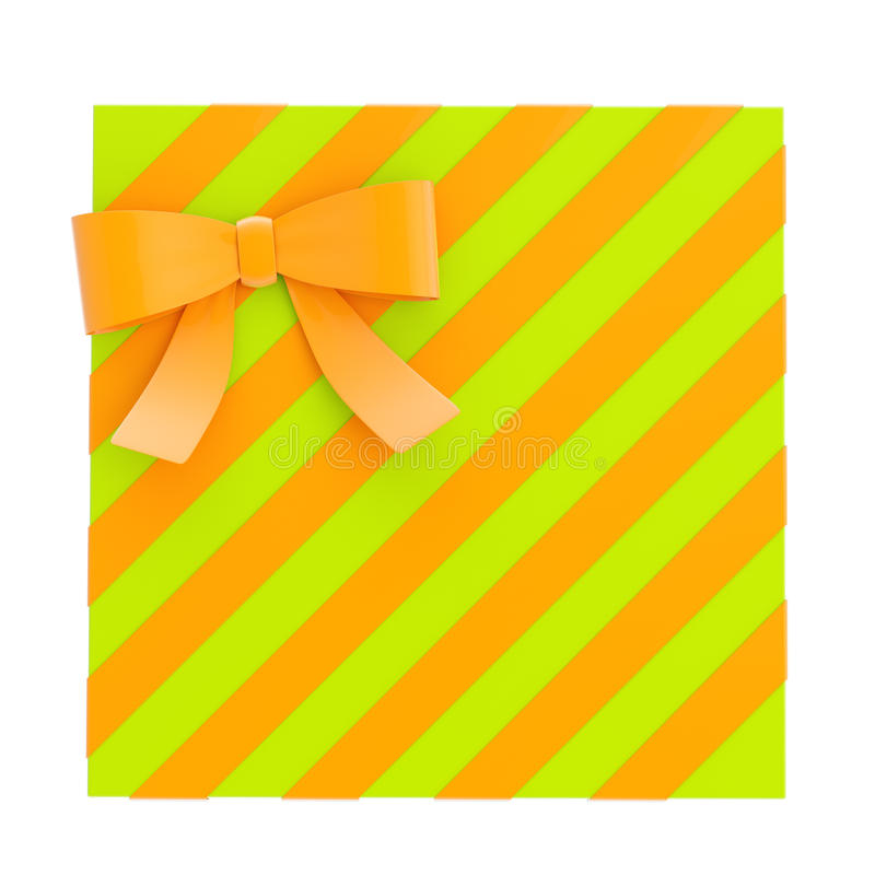 Wrapped gift box with a bow and ribbon. Wrapped green gift box with an orange bow and ribbon isolated over white background, 3d render illustration vector illustration