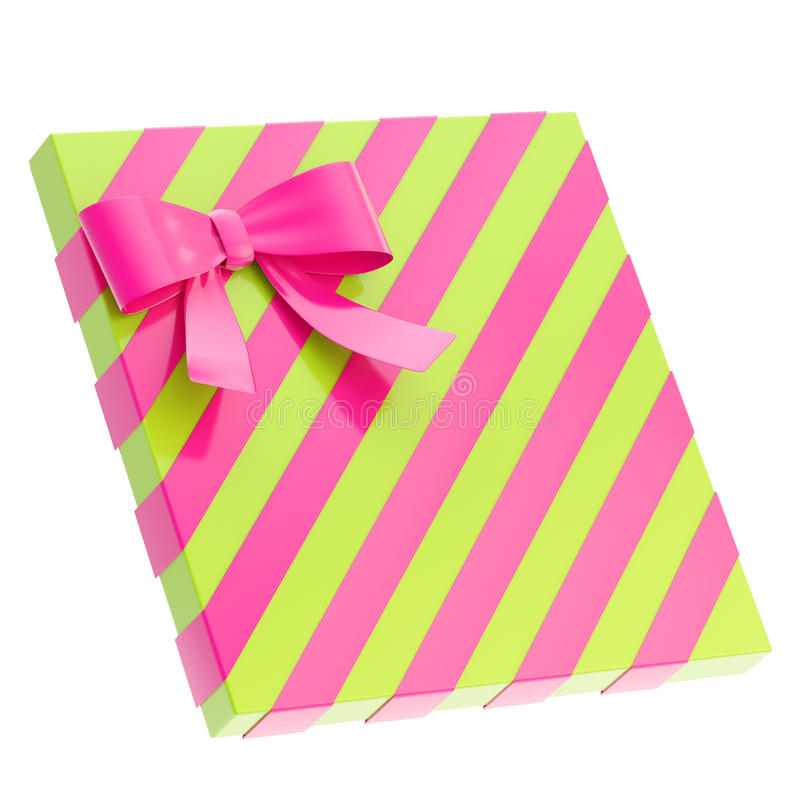 Wrapped gift box with a bow and ribbon stock illustration