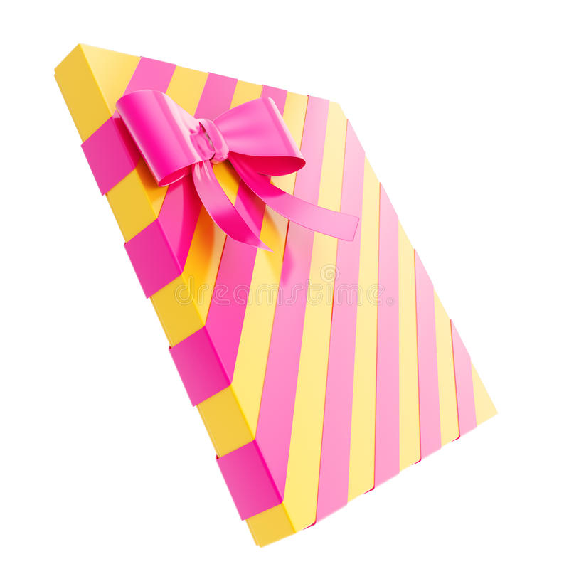 Wrapped gift box with a bow and ribbon royalty free illustration