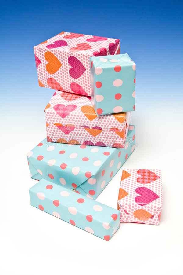 Wrapped gifts stock photo