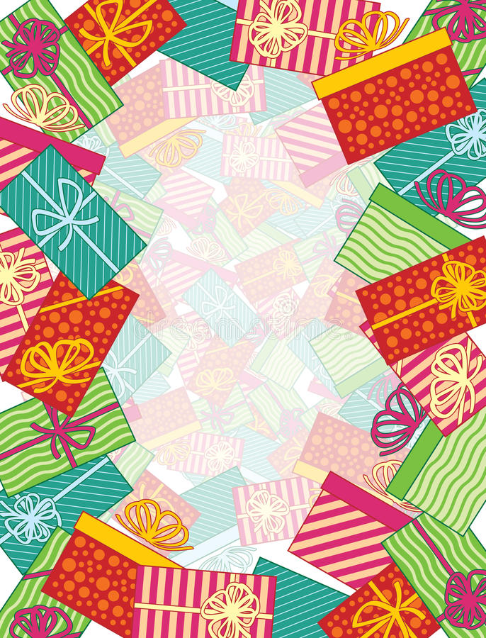Wrapped Gifts Border. These colorful, holiday presents are just waiting to be opened on Christmas day. Use as a background or border, perfect for building that vector illustration