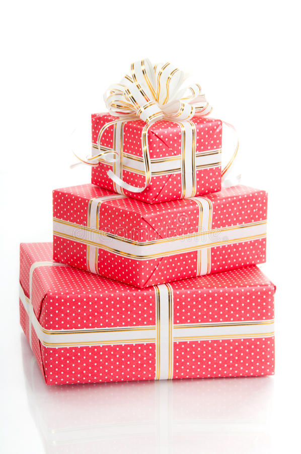 Download Wrapped Gifts With A Bow On A White Background Stock Illustration - Image: 34373664