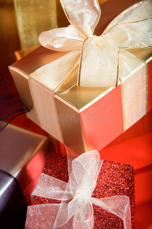 Wrapped Gifts with Ribbons stock photo