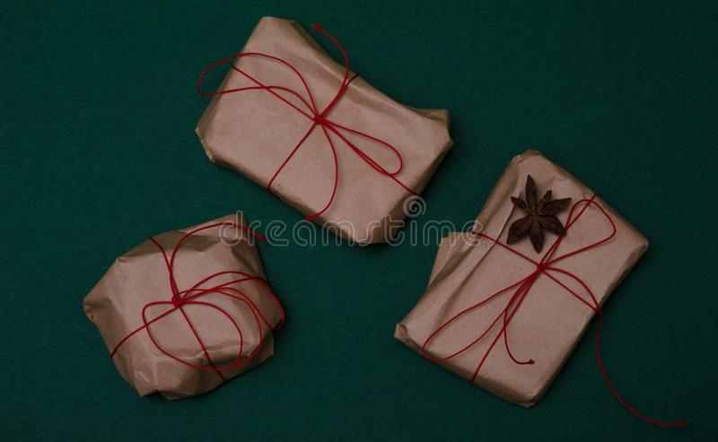 3 wrapped gifts on the table royalty free stock image