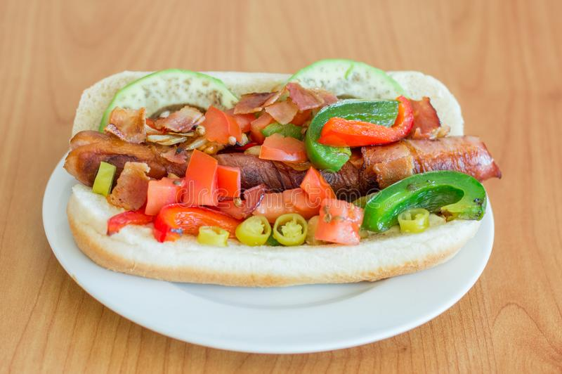 Hot Dog With Green Peppers And Onions