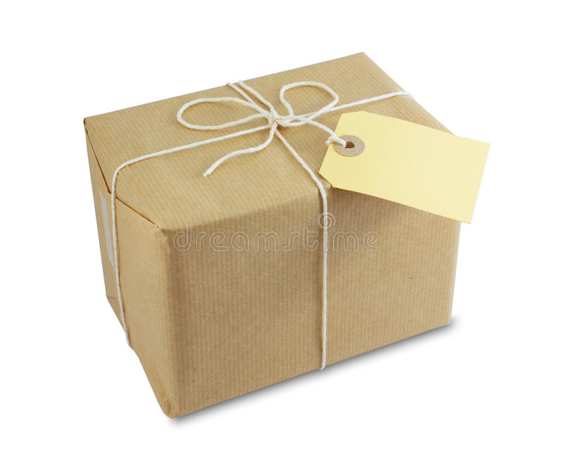 Wrapped parcel with label stock photo