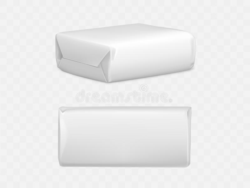 Wrapped parcel package box top and side view icon. Wrapped parcel package box top and side view, white blank packaging mock up for post mailing isolated on royalty free illustration