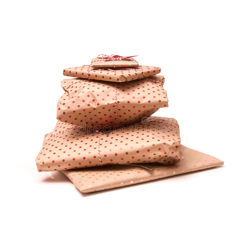 Wrapped presents stacked stock photos