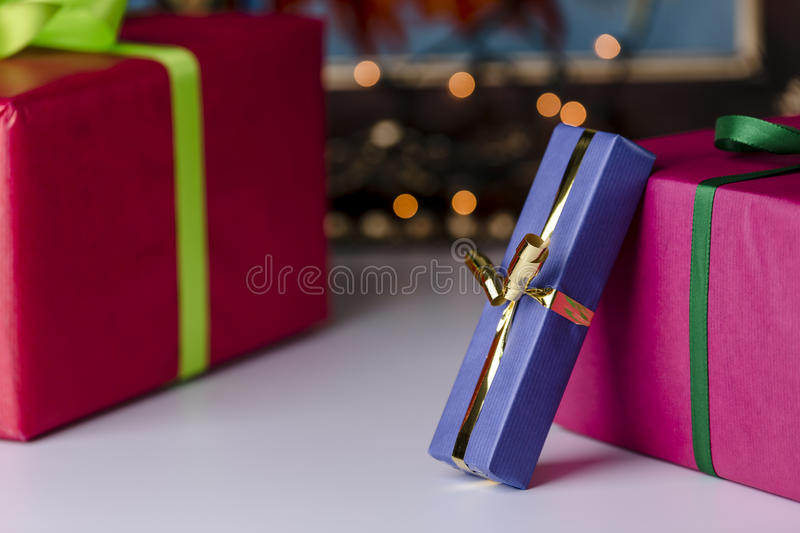 Download Wrapped presents stock image. Image of commemorate, golden - 42846823