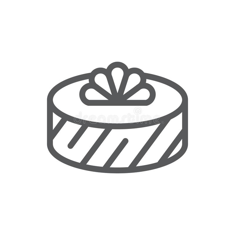 Wrapped round gift box decorated with ribbon and bow pixel perfect icon with editable stroke. royalty free illustration