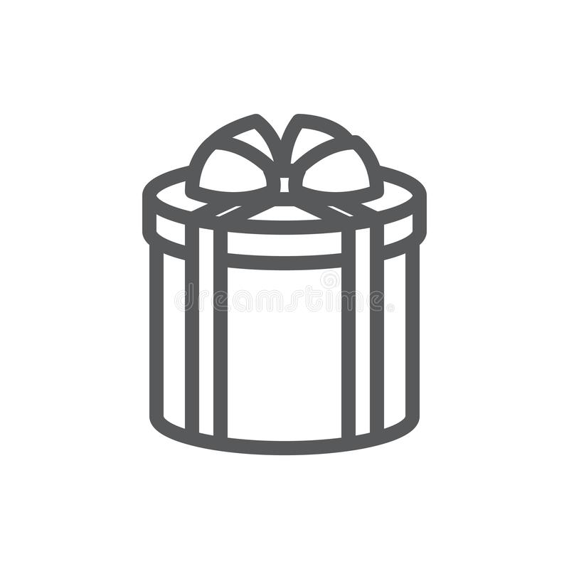 Free Wrapped Round Gift Box Decorated With Ribbon And Bow Pixel Perfect Icon With Editable Stroke. Royalty Free Stock Photos - 130211668