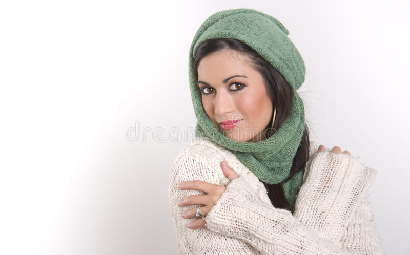 Download Wrapped Up Woman Waears Woven Scarf Sweater Stock Images - Image: 21663274