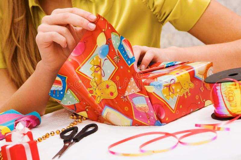 Wrapping gifts stock image