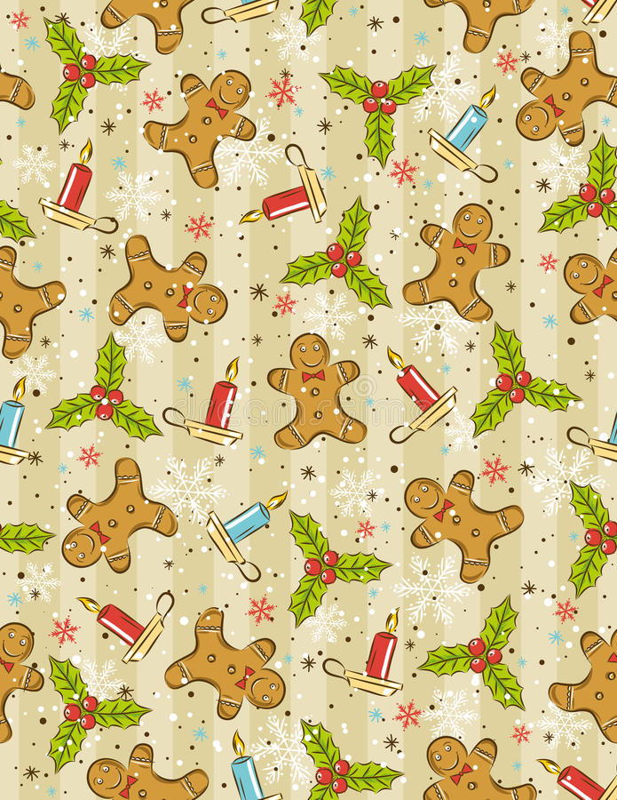 Download Wrapping Paper With Christmas Elements, Stock Vector - Image: 16629754