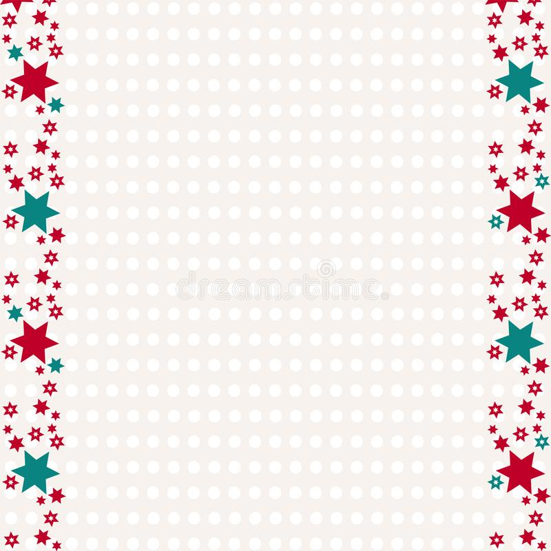 Wrapping paper for Christmas presents. Retro Merry Christmas background with stars and copy space. stock illustration