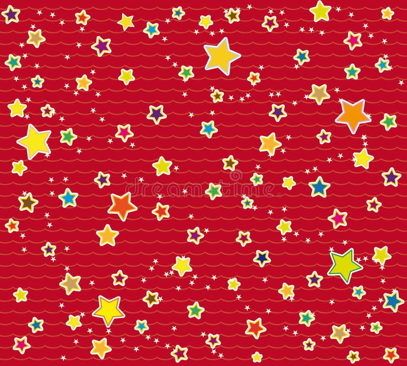 Wrapping paper design with stars. Red wrapping paper design with colorful little star ornaments vector illustration