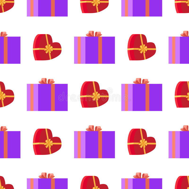 Wrapping Paper with Red and Violet Gift Boxes vector illustration