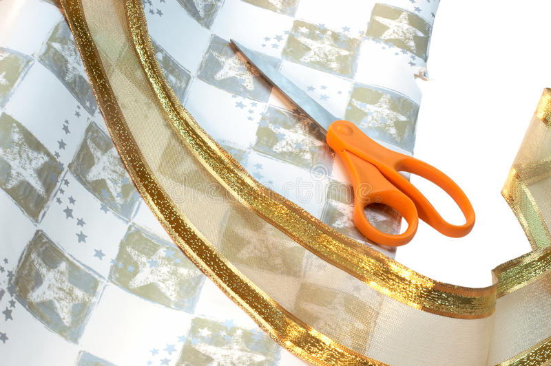 Download Wrapping Paper, Ribbon & Scissors Stock Photo - Image: 21366636