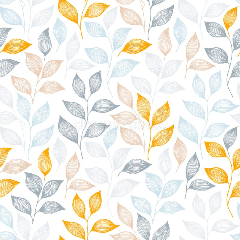 Wrapping tea leaves pattern seamless vector illustration. Wrapping tea leaves pattern seamless vector. Minimal tea plant bush leaves floral fabric design royalty free illustration