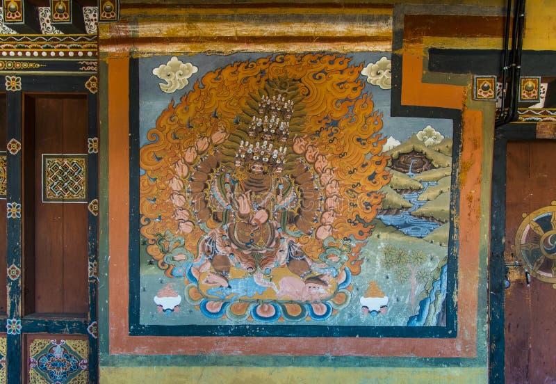 Wrathful Boeddhistische Beschermer, muurschilderij van Trongsa Dzong, kunst van Bhutan royalty-vrije stock foto's