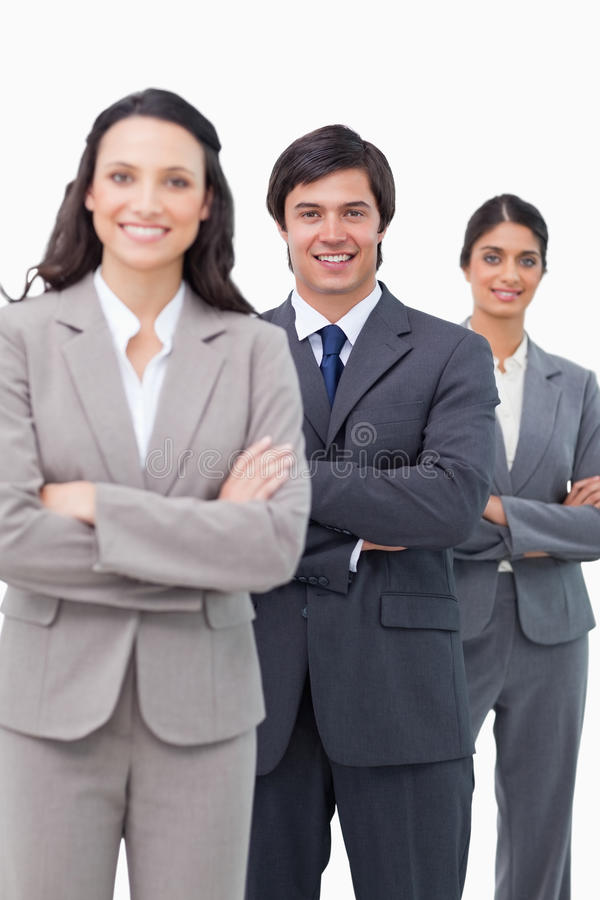 Wraz z rękami składać salesteam młoda pozycja obraz stock