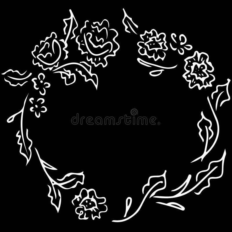 Wreath of abstract flowers and branches isolated on black background. Foral frame design elements for invitations, greeting cards vector illustration