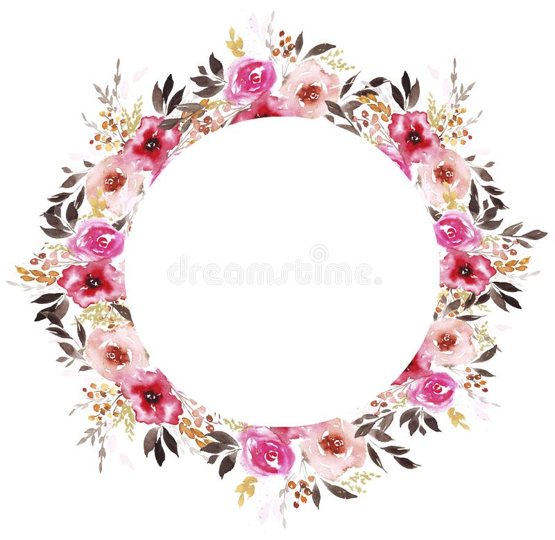 Wreath with abstract watercolor flowers vector illustration