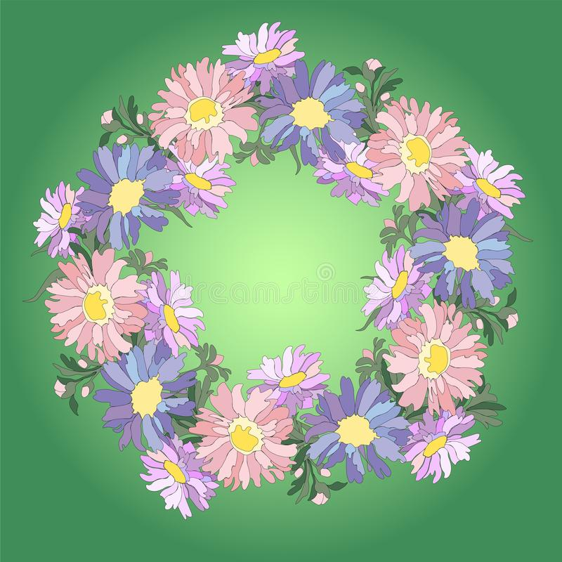 Wreath of asters stock illustration