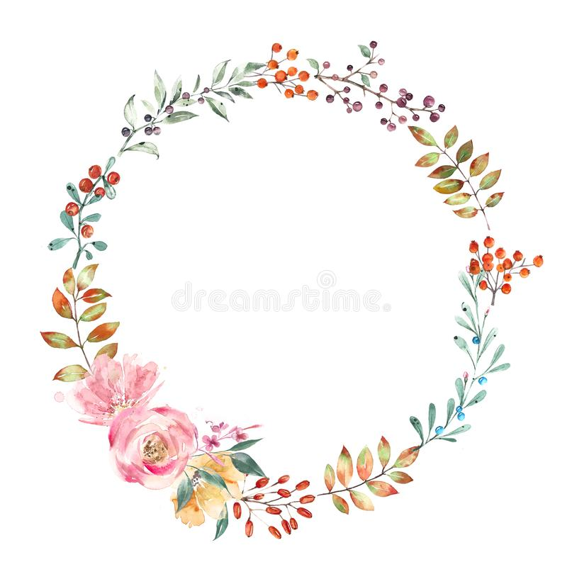 Wreath of autumn flowers, leaves and berries. Isolated on white background, watercolor illustration. royalty free illustration