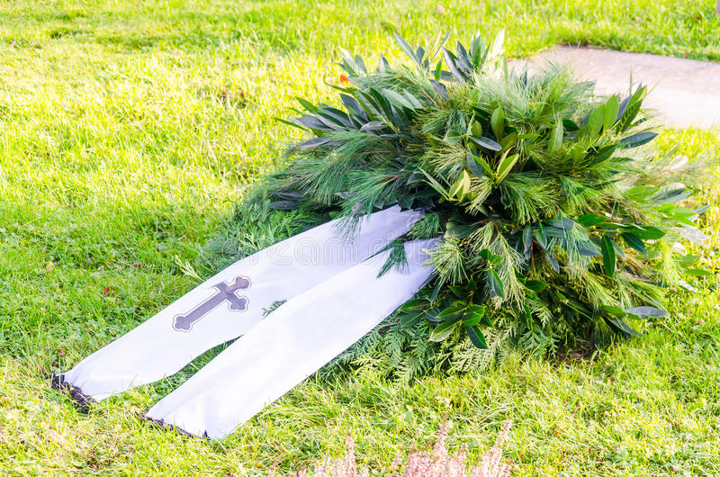 Wreath with banners, Copy Space. Wreath with banner and cross. Banners with copy space royalty free stock images