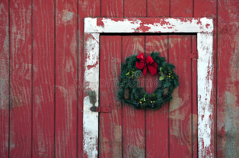 Wreath on barn royalty free stock image