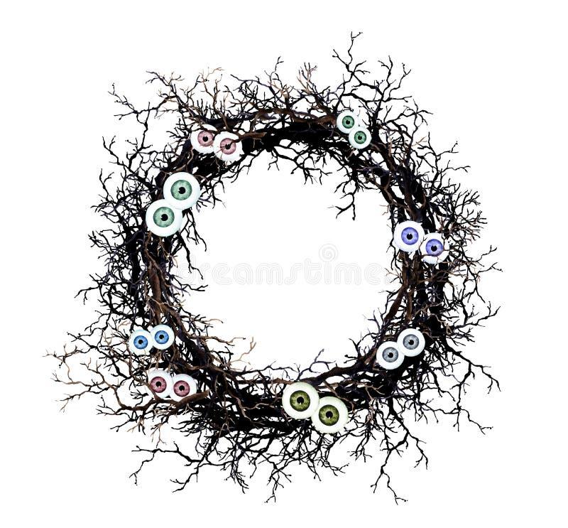 Wreath with black twigs, eyes. Watercolor border for Halloween. Wreath with black twigs and eyes. Watercolor border for Halloween vector illustration