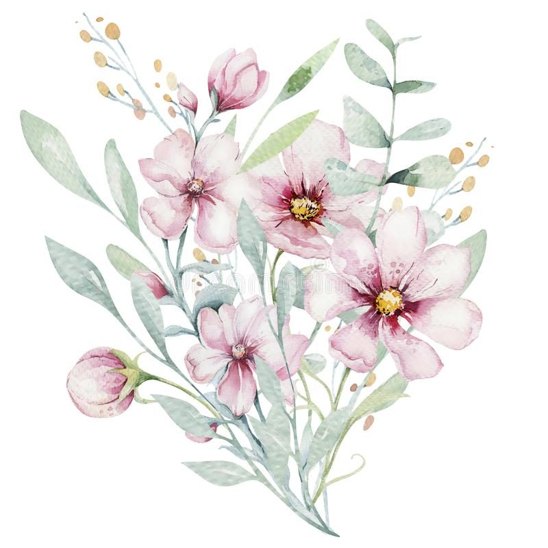 Wreath of blossom pink cherry flowers in watercolor style with white background. Set of summer blooming japanese sakura. Wreath of blossom pink cherry flowers in royalty free illustration