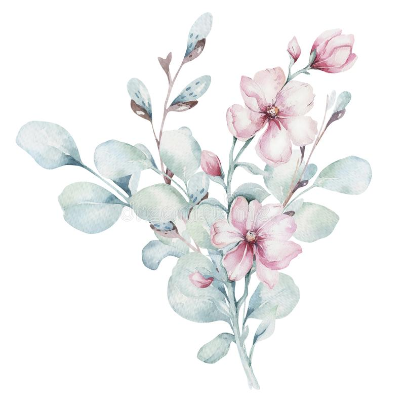 Wreath of blossom pink cherry flowers in watercolor style with white background. Set of summer blooming japanese sakura. Wreath of blossom pink cherry flowers in vector illustration