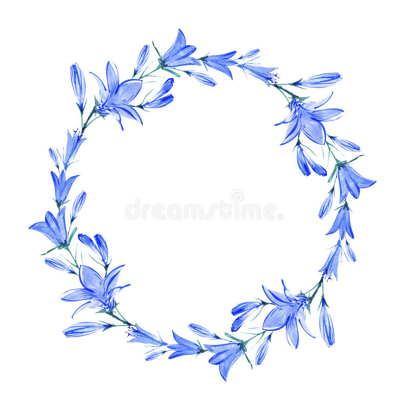 Wreath with bluebell flowers. Bluebell flowers.Wreath with bluebell.Watercolor hand drawn illustration vector illustration