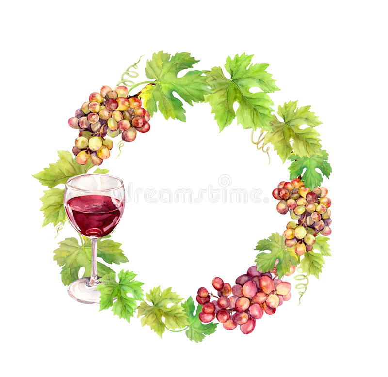 Wreath border with grape, wine glass and leaves. Watercolor circle frame stock image