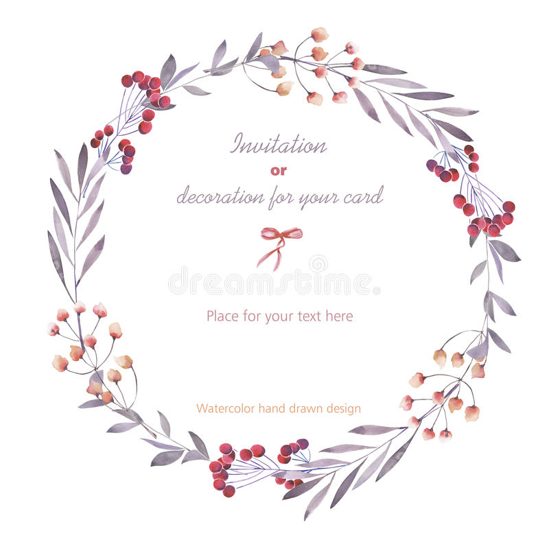 Wreath (circle frame) of the berries, branches and flowers, hand drawn in a watercolor on a white background vector illustration