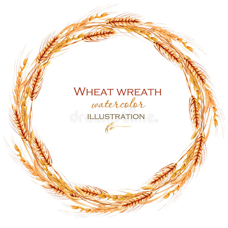 Wreath, circle frame border with wheat spikelets royalty free illustration
