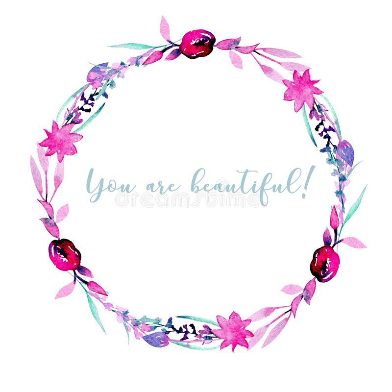 Wreath, circle frame with simple watercolor pink peonies and lavender. Hand painted on a white background royalty free illustration