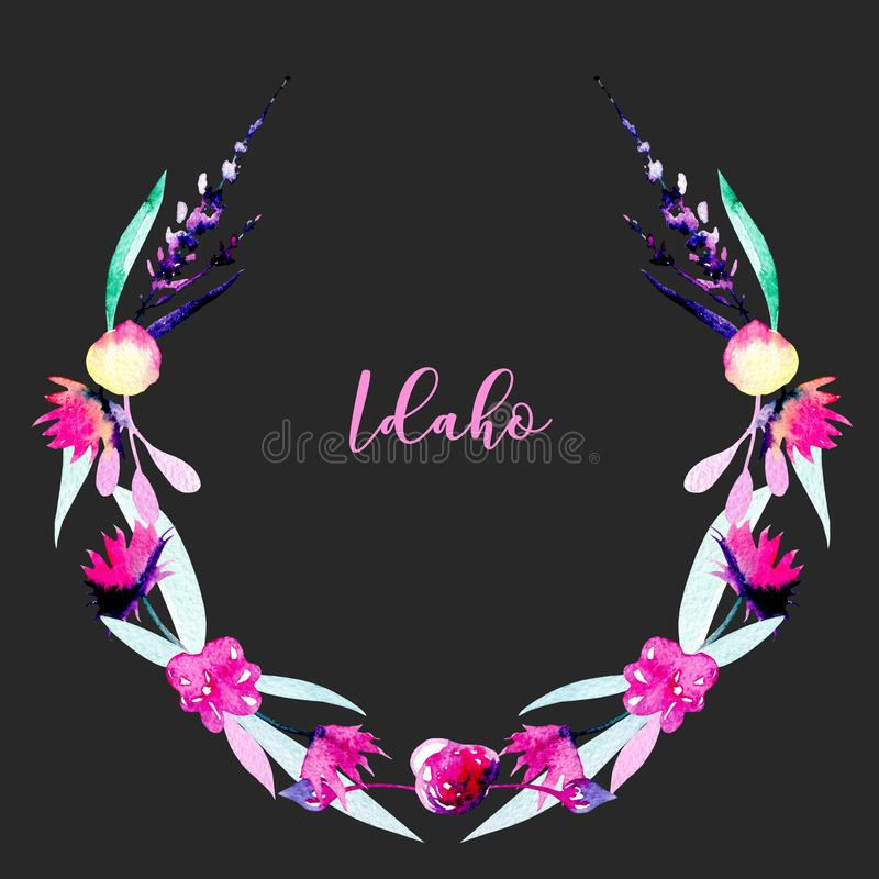 Wreath, circle frame with simple watercolor pink wildflowers and lavender. Hand painted on a dark background vector illustration