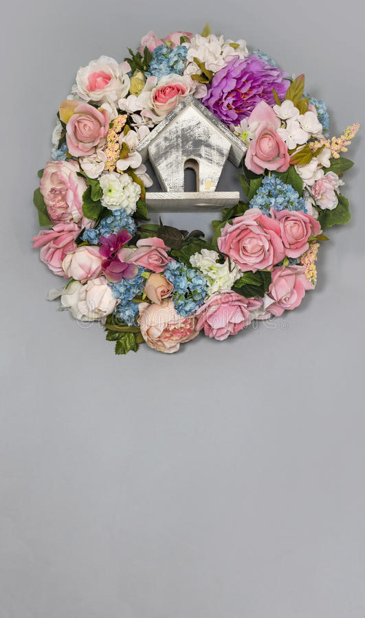 A wreath of colorful delicate flowers stock photography