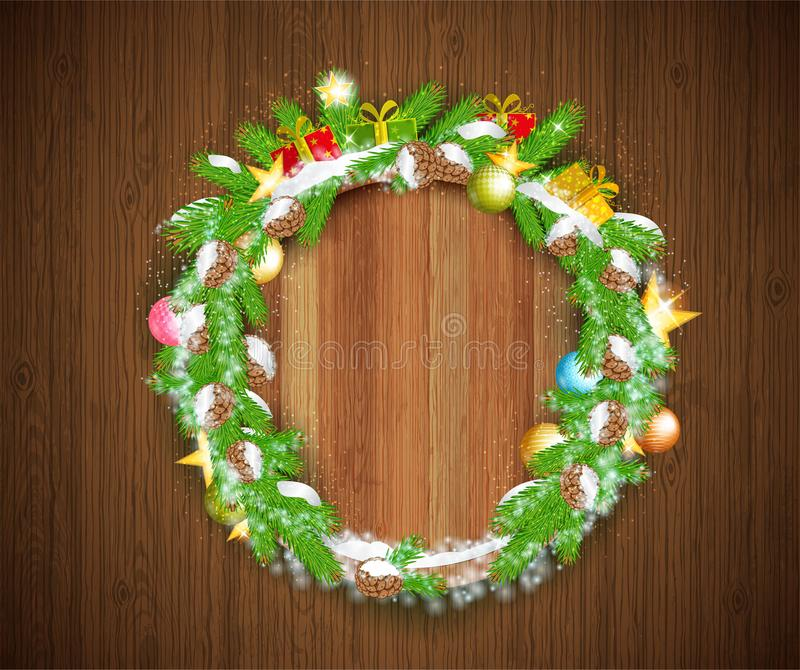 Wreath from cones and fir tree branches with snow, craft boxes, stars and toys on vintage wood background. Winter christmas horizo royalty free illustration